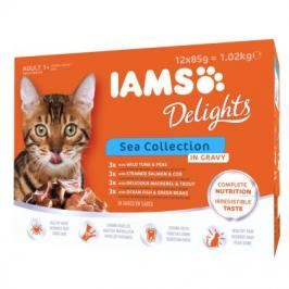 Iams Delights Adult v omáčke 12 x 85 g - Sea Mix