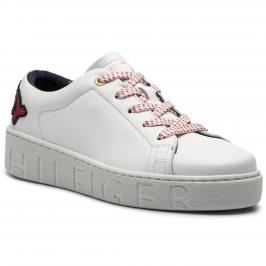 Sneakersy TOMMY HILFIGER - Tommy Fashion Sneaker FW0FW03689 White 100